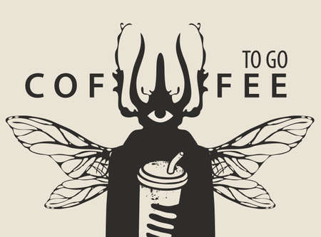 Creative banner on the theme of coffee with the inscription Coffee to go. Vector illustration of a mysterious man with a beetle head, one eye and insect wings holding paper Cup of coffee with a straw Vettoriali