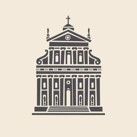 Icon or stencil of a stylized old building with architectural columns, pediment and steps. Decorative vector illustration of an administrative building facade isolated on a light background