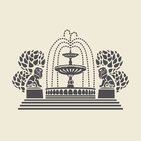 Icon or stencil of a stylized vintage Park fountain with steps, trees and sculptures of lions. Decorative vector illustration isolated on a light background in flat style