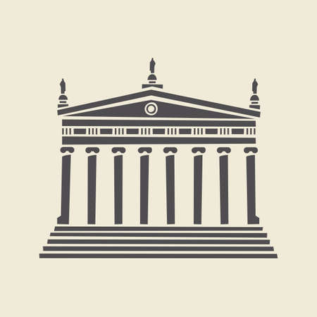 Icon or stencil of a stylized old building with architectural columns, pediment and steps. Decorative vector illustration of a portico isolated on a light background in flat style