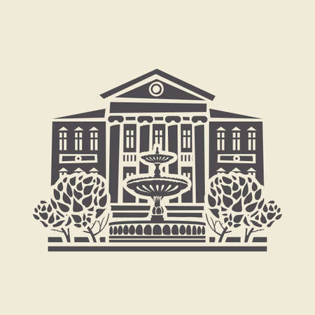 Icon or stencil of a stylized old two-storey building with columns, a fountain and trees. Decorative vector illustration in flat style, isolated on a light background Illustration