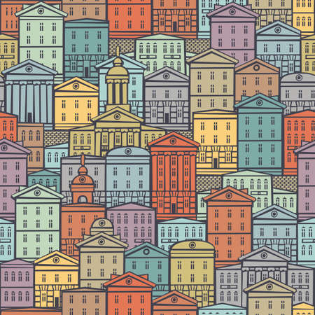 Decorative seamless pattern with old houses in retro style. European town with colorful cartoon buildings. Vector cityscape background, suitable for wallpaper, wrapping paper, textile, fabric