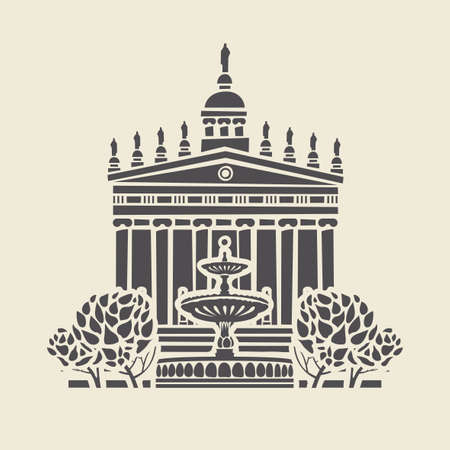 Icon or stencil of a stylized old building with columns and pediment, trees and a fountain. Decorative vector illustration in flat style, isolated on a light background