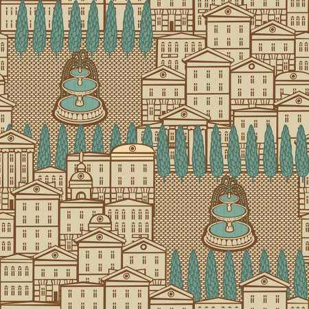 Decorative seamless pattern with old european houses, fountains and trees in retro style. Vector cityscape background, suitable for wallpaper, wrapping paper, textile, fabric