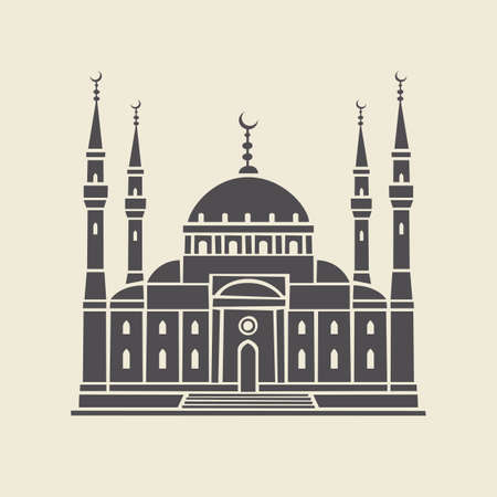 Icon or stencil of a stylized Islamic mosque. Decorative vector illustration of the facade of a traditional Muslim religious building in a flat style, isolated on a light background