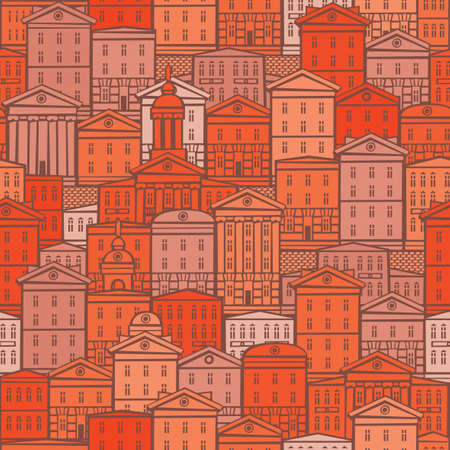 Decorative seamless pattern with old buildings in red and orange colors. European town with cartoon houses. Vector cityscape background in retro style, suitable for wallpaper, wrapping paper, fabric