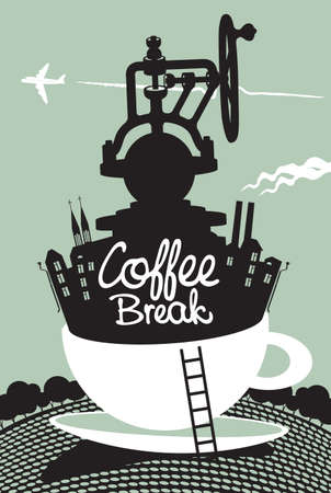 Creative banner with a coffee grinder and old buildings in a white cup on the background of landscape with trees and flying plane. Vector illustration with handwritten inscription Coffee break
