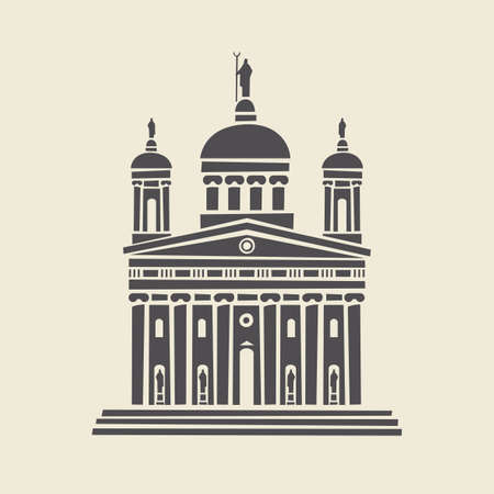 Icon or stencil of a stylized old administrative building with architectural columns, pediment and steps. Decorative vector illustration of building facade isolated on a light background