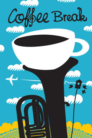 Creative banner with a white cup of coffee in a black tuba or trumpet on the background of blue sky and flying plane. Vector illustration for a music cafe with handwritten inscription Coffee break