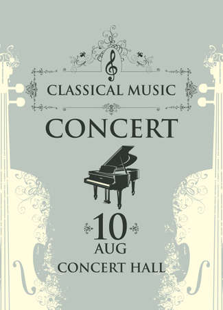 Poster for a concert of classical music in vintage style. Vector advertising placard, banner, flyer, invitation or ticket with grand piano and abstract violins on the gray background