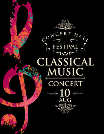 Poster of a live classical music concert. Vector banner, flyer, invitation, ticket or advertising poster with abstract treble clef in the form of bright spots of paint on a black background