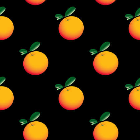 Seamless pattern with fresh oranges and green leaves on a black background. Cartoon vector background with citrus fruits, suitable for wallpaper, wrapping paper, fabric, textile, design.