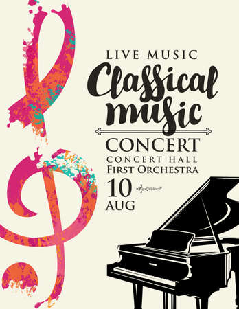 Poster for a live classical music concert. Vector flyer, invitation, ticket or advertising banner with a grand piano and abstract treble clef in the form of bright spots of paint