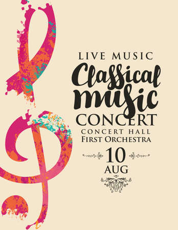 Poster for a live classical music concert. Vector banner, flyer, invitation, ticket or advertising banner with an abstract treble clef in the form of bright spots of paint Vecteurs