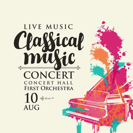 Poster for a live classical music concert. Vector flyer, invitation, ticket or advertising banner with an abstract image of a grand piano in the form of bright spots of paint Vecteurs