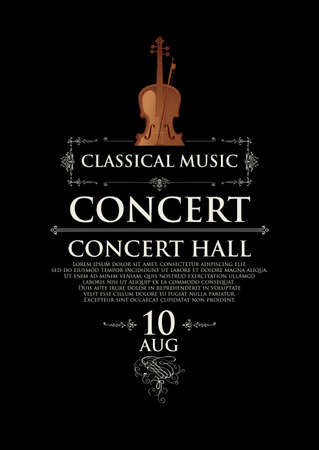 Poster for a concert of classical music in vintage style. Vector banner, flyer, invitation or ticket with the violin and place for text on the black background