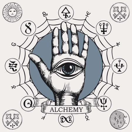Open palm with a third eye symbol. Vector hand-drawn banner on the theme of alchemy with a human hand, all seeing eye, web, esoteric and magical signs written in a circle in retro style Ilustração