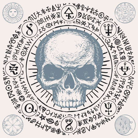 Illustration with a sinister human skull and magic symbols. Hand-drawn vector banner with Sun, Moon and cryptic signs written in a circle in retro style Ilustração