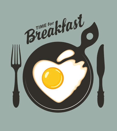 Vector banner or menu on the theme of Breakfast time with fried egg in the shape of a heart, a fork and a knife on a yellow background with space for text in retro style Illustration