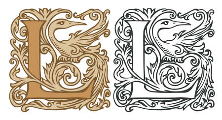 Initial letter L with vintage Baroque decorations. Two vector uppercase letters L in beige and black-white colors. Beautiful filigree capital letter