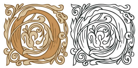 Initial letter O with vintage Baroque decorations. Two vector uppercase letters O in beige and black-white colors. Ilustração