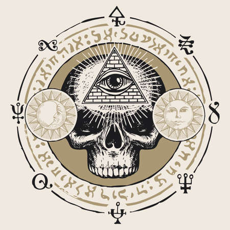 Illustration with a human skull and an all-seeing eye. Hand-drawn vector banner with Sun, Moon and cryptic signs written in a circle in retro style