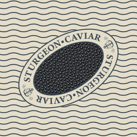 Label for black sturgeon caviar in an oval frame on the background with waves in retro style. Vector design element for seafood menu, advertising banner, wrapping paper.
