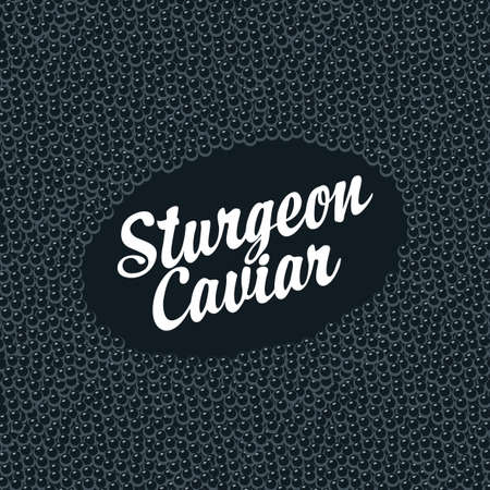 Banner with inscription Sturgeon caviar on a black caviar background. Vector illustration for seafood menu, label, packaging, advertising