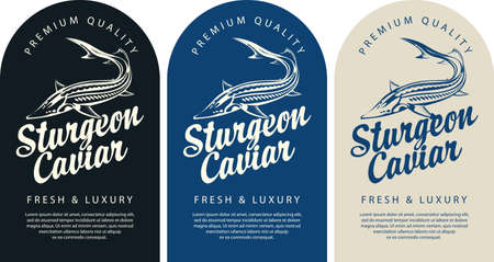 Set of labels for black sturgeon caviar with a sturgeon fish, calligraphic inscription and place for text. Monochrome vector labels, banners or stickers in retro style Vettoriali