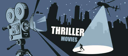 Cinema poster for the thriller movies. Vector banner, flyer or ticket with an old movie projector and a helicopter with a light beam aimed at a fleeing person in a big city at night.