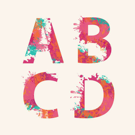 Alphabet, Letters ABCD with colorful ink blots, abstract color splashes, colored paint spray. Vector watercolor font, isolated on a light background