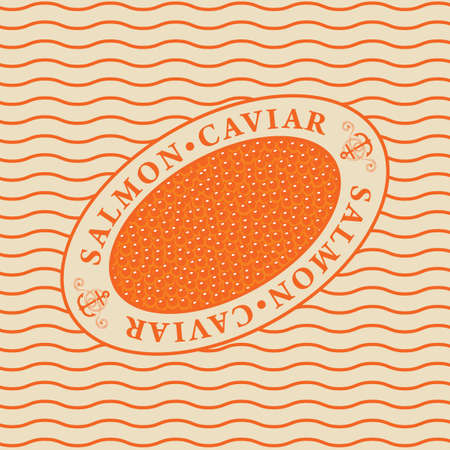 Label for red salmon caviar in an oval frame on a background of waves in retro style. Vector design element for seafood menu, advertising banner, wrapping paper.