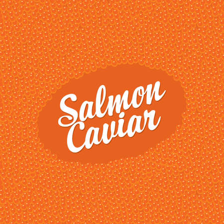 Banner with inscription Salmon caviar on a red caviar background. Vector illustration for seafood menu, label, package, advertising