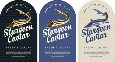 Set of labels for black sturgeon caviar with a sturgeon fish, calligraphic inscription and place for text on a background with waves. Vector labels, banners or stickers in retro style