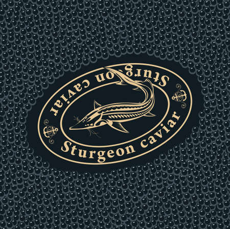 Label or banner for black sturgeon caviar with a sturgeon fish in an oval frame on a black caviar background. Vector illustration for seafood menu, label, packaging, advertising