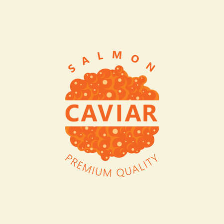 Banner with red salmon caviar and inscriptions on a light background in retro style. Vector illustration for seafood menu, label, packing, advertising, emblem, design element