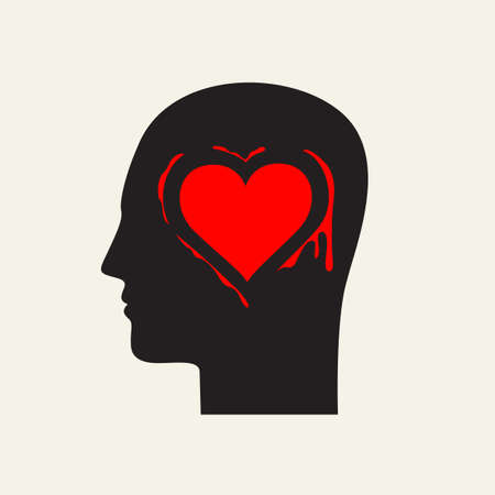 Black silhouette of a human head in profile with a red heart in the brain area. Illusztráció