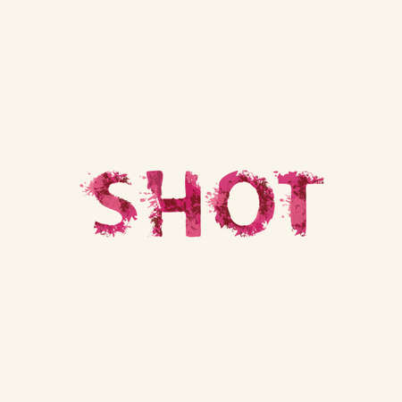 SHOT lettering in a modern style. Vector illustration in the form of abstract inscription with red splashes and blots of paint or blood on a light background