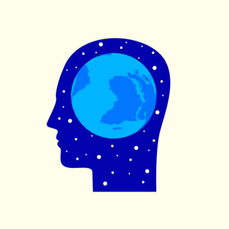 Blue silhouette of a human head in profile with a globe in the brain area.
