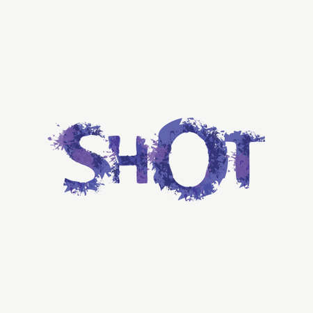 SHOT lettering in a modern style. Vector illustration in the form of abstract inscription with violet splashes and blots of paint or ink on a light background