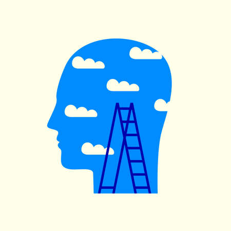 Silhouette of human head in profile with white clouds and black step ladder on the background of blue sky.