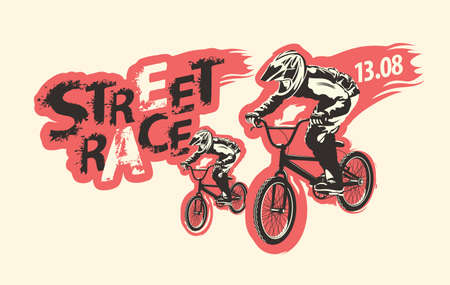 Street race lettering and cyclists on the bikes. Vector illustration on the extreme cycling theme. Poster, banner, t-shirt design, label, graphic print, graffiti, flyer, sticker for street racing