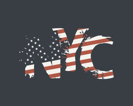 NYC letters in the colors of the American flag in grunge style on a dark background.
