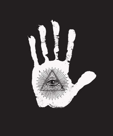 White print of a human hand with all seeing eye symbol on the black background. Vector hand-drawn illustration on the occult or alchemical theme with the third eye on the open palm Иллюстрация