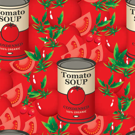 Seamless pattern with ripe tomatoes and tomato soup cans on a red background. Vector repeatable background for condensed tomato soup