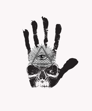 Black handprint with a sinister human skull and an all-seeing eye symbol on a white background. Vector hand-drawn banner on the theme of occultism or alchemy with the third eye on the open palm Иллюстрация
