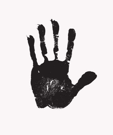 Black print of human hand, skin texture pattern. Scanning the palm and fingers on white background, grunge vector illustration. Children or adult handprint for art, fun, kid, identity, education Ilustración de vector