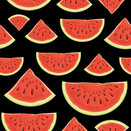 Fruit seamless pattern with appetizing slices of a red sweet watermelon on a black backdrop. Vector background with the ripe juicy watermelon, suitable for wallpaper, wrapping paper, fabric 向量圖像