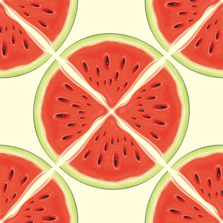 Fruit seamless pattern with red juicy watermelon slices. Vector background with the sweet ripe watermelon quarters, suitable for wallpaper, wrapping paper, textile, fabric, summer design