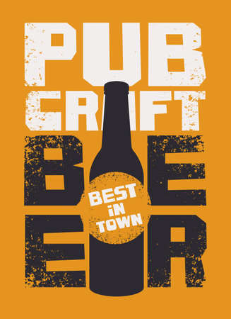 Banner for a pub with the best craft beer in town. Vector illustration with inscriptions and beer bottle on an orange background in a grunge style